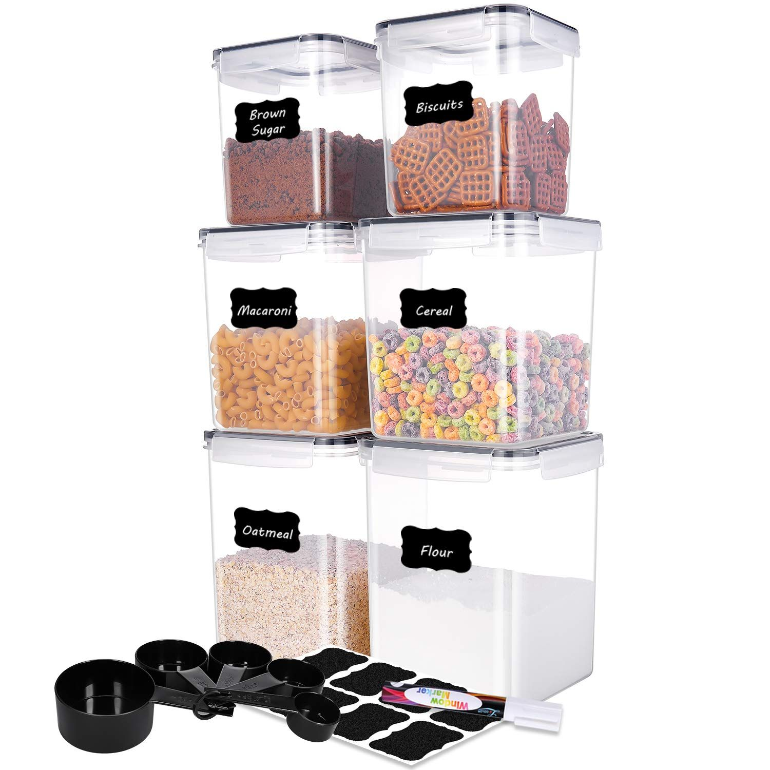 Me Fan Food Storage Containers Set Of 6 Pantry Bulk Food Canisters Flour Container Airt In 2020 Airtight Food Storage Containers Food Storage Containers Food Storage
