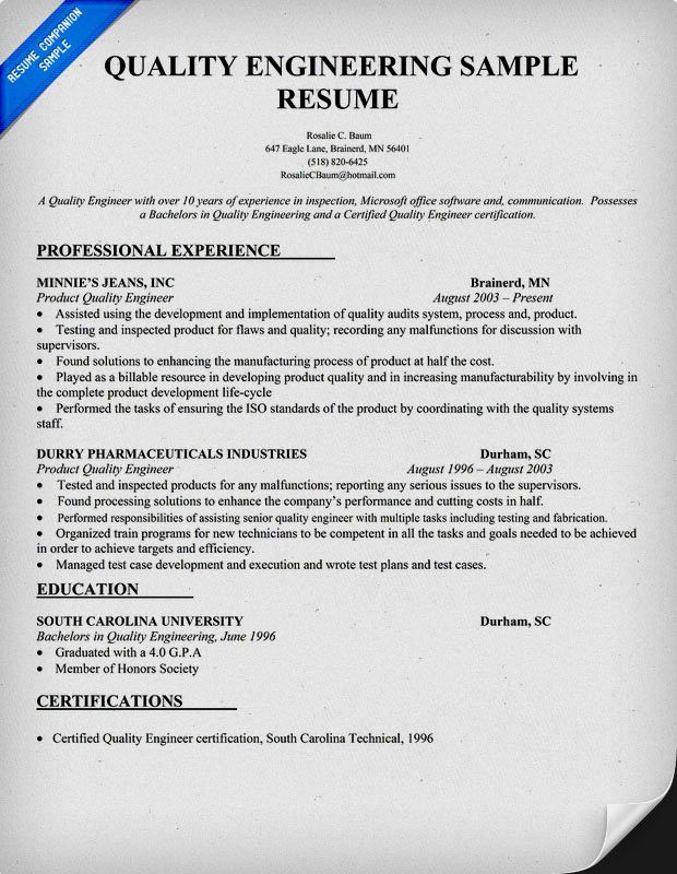 quality engineer resume sample doc resume template resume - Engineer Sample Resume