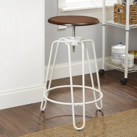 Better Homes and Gardens Adjustable-Height Stool, Multiple Colors, White