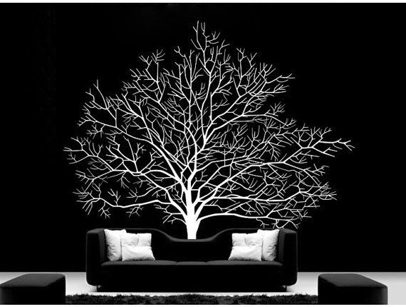 Black And White Wall Decals featured. beautiful white tree decal for wall remodeling: striking
