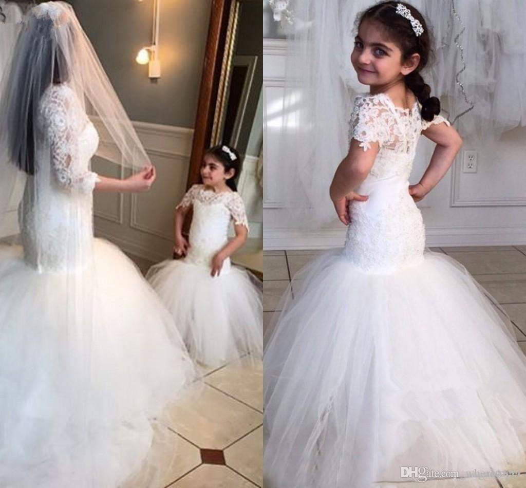 white lace flower girls dresses for weddings beauty short