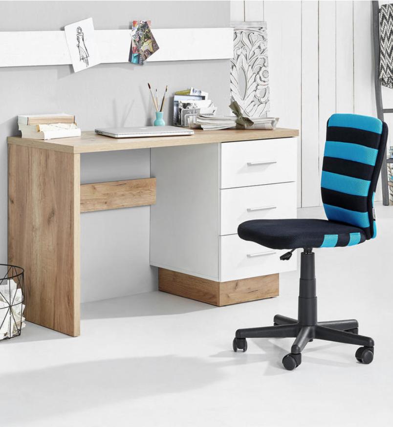 Schreibtisch In Holz Und Weiss 3 Laden Schreibtisch Schreibtisch Weiss Tisch
