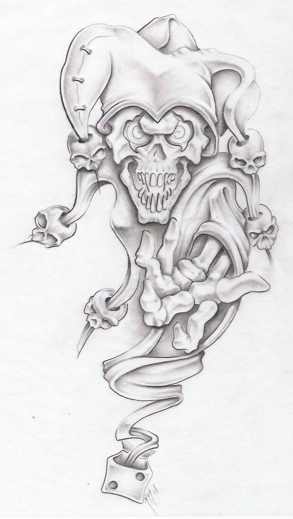 Simple Joker Skull Tattoo