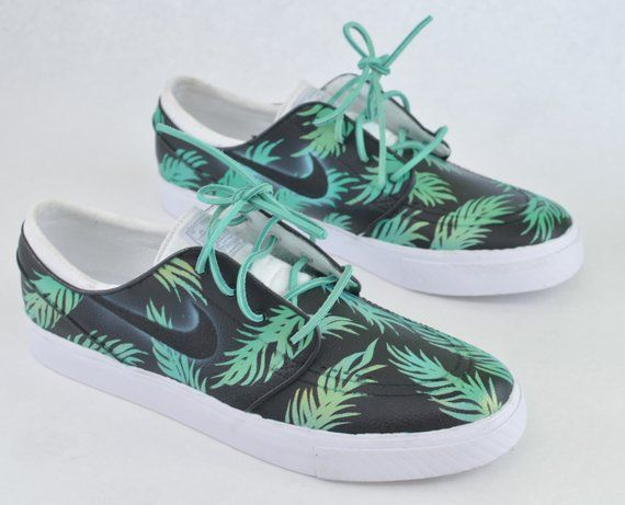 buy online 61052 3ad8e Sea Foam Green   Gold Tropical Floral Nike SB Stefan Janoski - Custom Hand  Painted