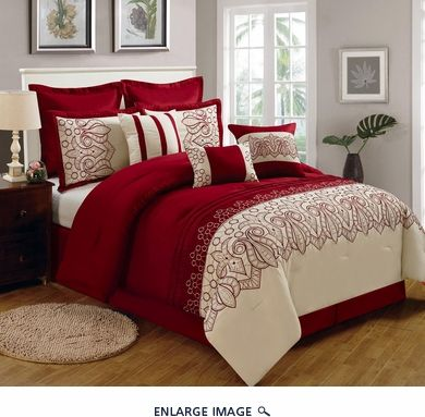 9 Piece King Lynsey Burgundy And Beige Comforter Set Comforter Sets Burgundy Bedding King Comforter Sets