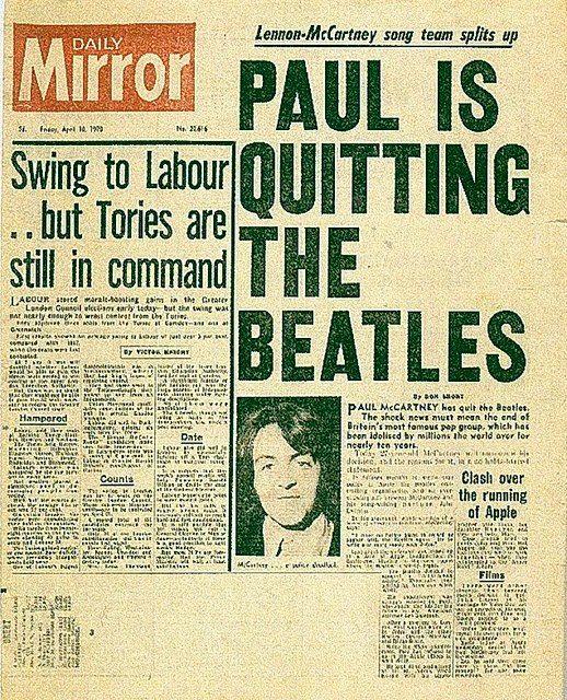 en 1970, Paul McCartney anunciaba la separación de los