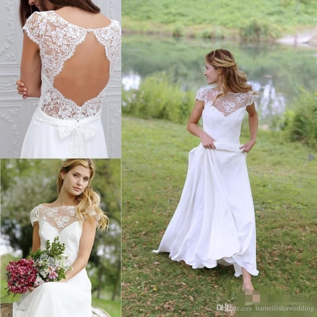 Adding Cap Sleeves Wedding Dress To: Modest Boho Country Wedding Dresses 2016 Cheap Vintage