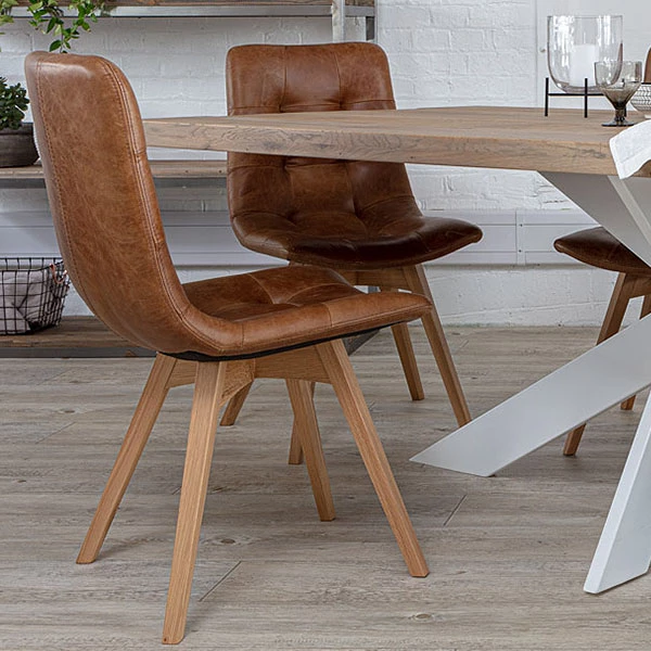 Allegro Brown Leather Oak Dining Chairs Pair Oak Dining Chairs Dining Chairs Leather Dining Chairs Modern