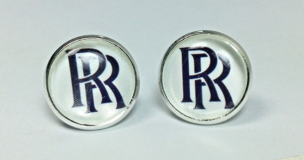 Rolls Royce Logo Luxury Car Symbol RR Silver Earring Studs