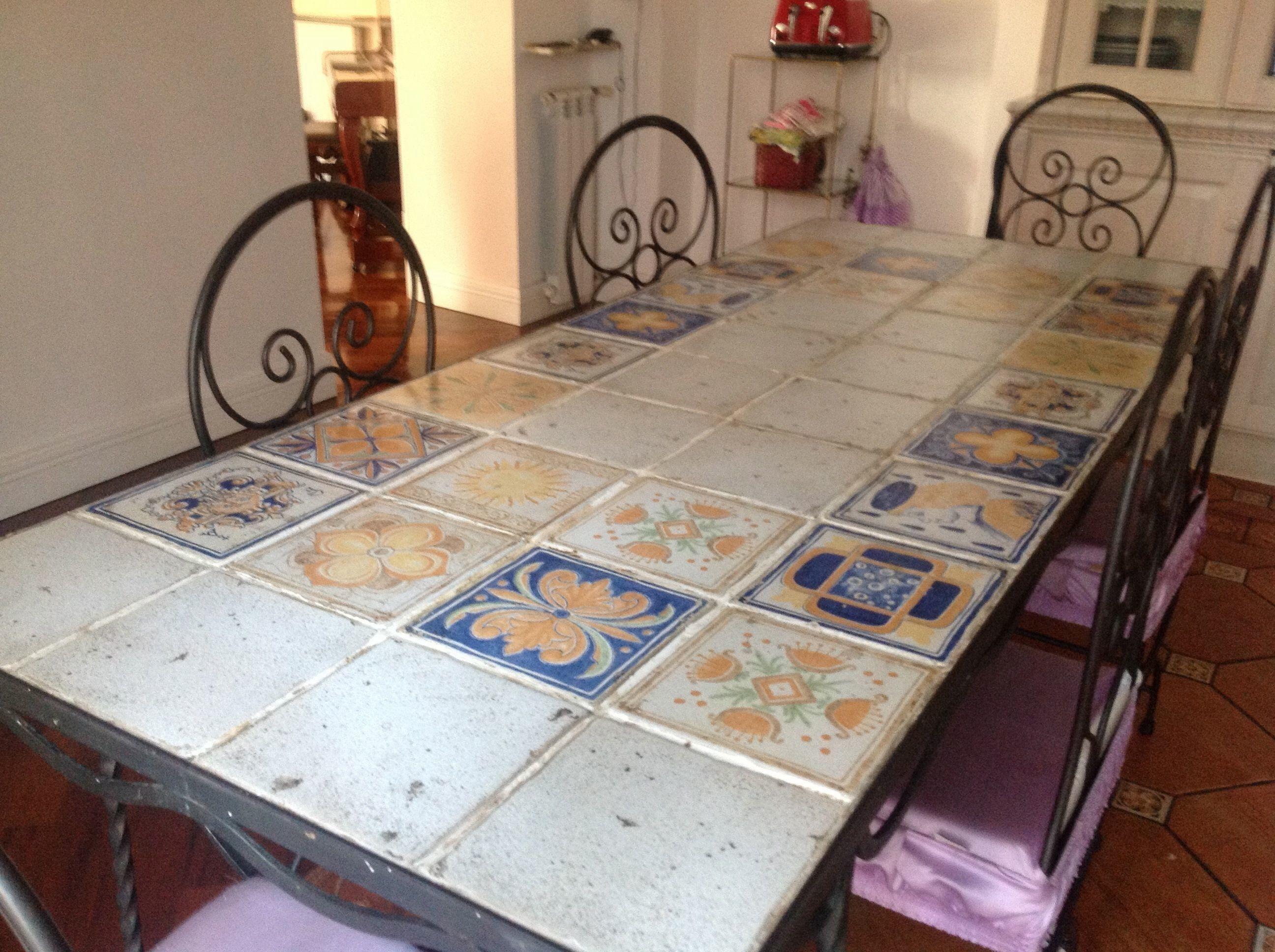 Tavolo con mattonelle napoletane faggianis creazioni