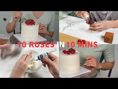 Making Buttercream Flowercake in 10mins - YouTube