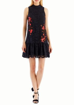 9dc9aec386 Nicole Miller New York Women s Sleeveless Lace Flounce Red Embroidery Dress