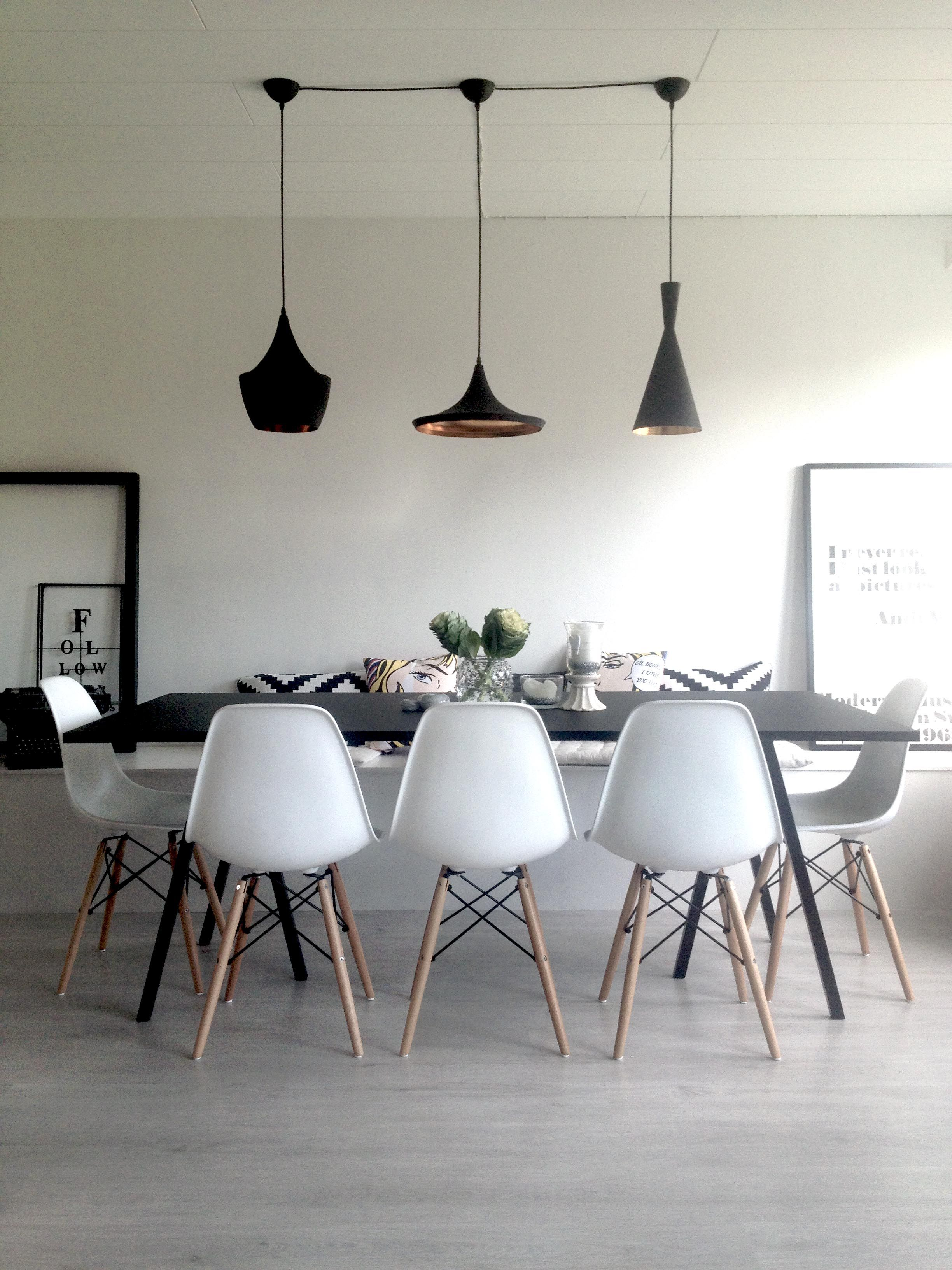 Dining Room : Hay Loop Table, Tom Dixon Beat Light, Eames DWW Chairs,