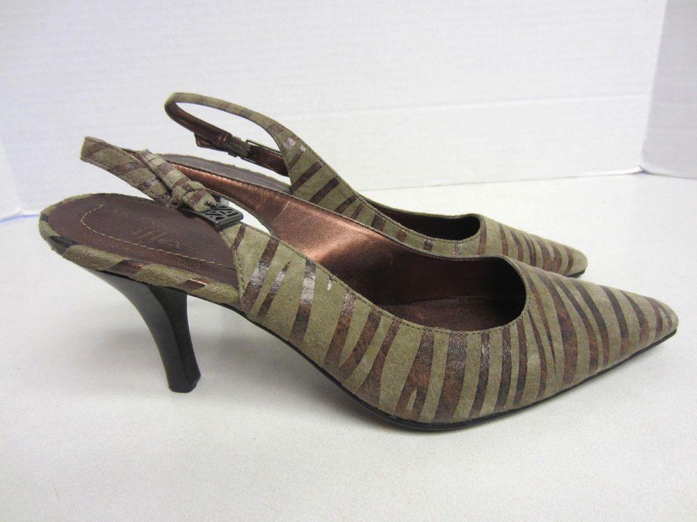 a75bccc11afe Anne Klein Shoes 6 1 2 M Walton Iflex Brown Sling Back Pumps AK CLEARANCE
