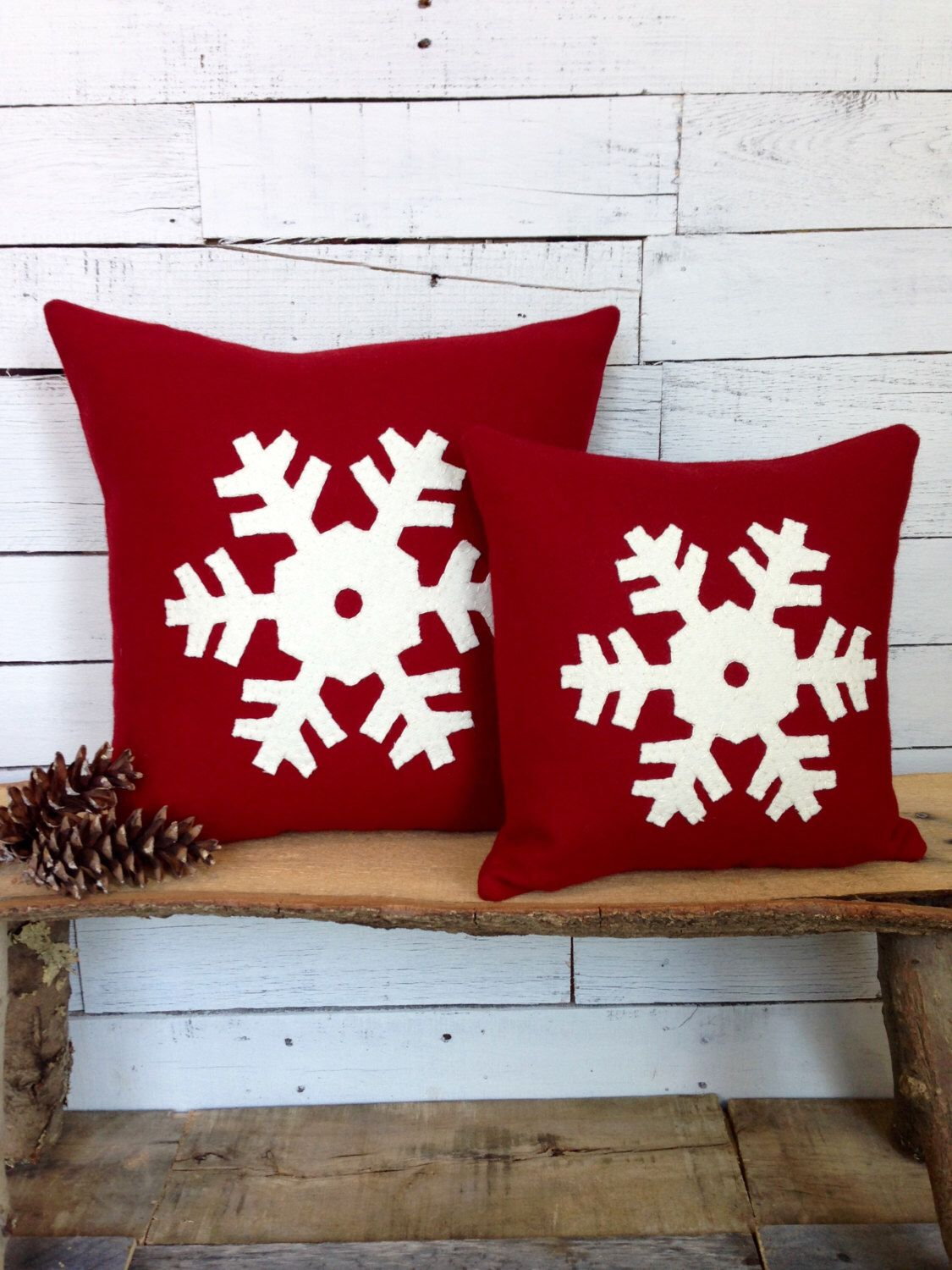 Rustic Home Decor, Rustic Pillows, Decorative Pillow, Throw Pillow, Ski Lodge Decor, Snowflake Decorations, Snowflake, Woodland Decor by AwayUpNorth on Etsy https://www.etsy.com/listing/88806568/rustic-home-decor-rustic-pillows