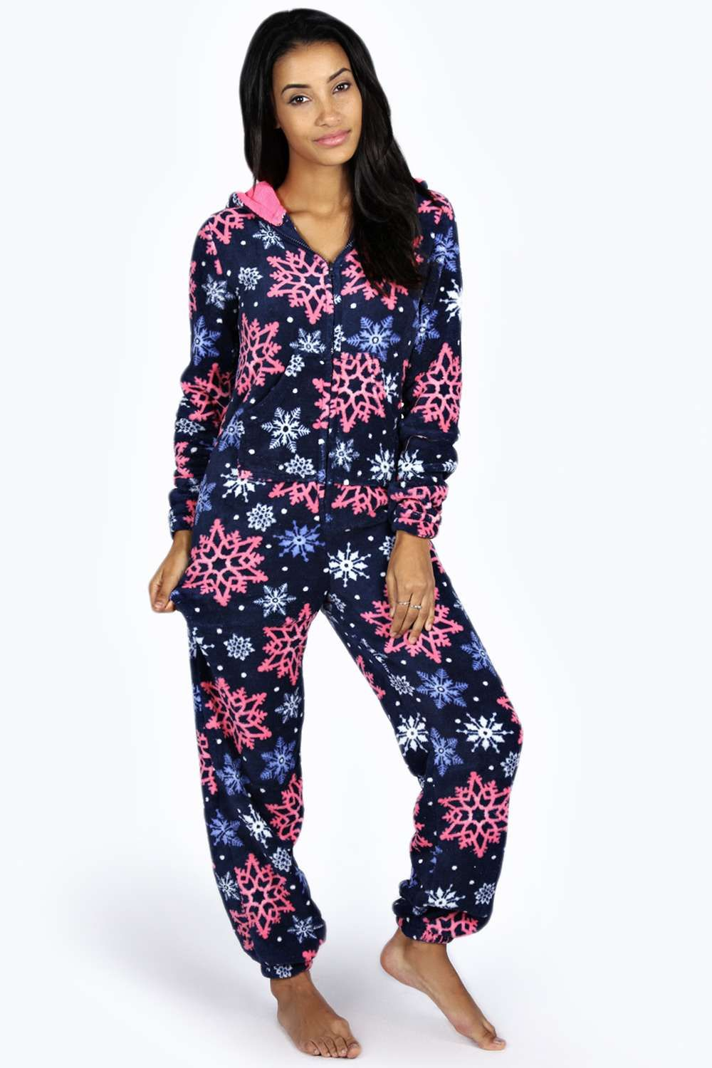 Samantha Snowflake Hooded Fleece Onesie Pajamas women