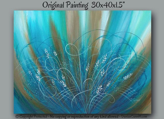 Original Painting Abstract Floral Brown Aqua Blue Turquoise Teal