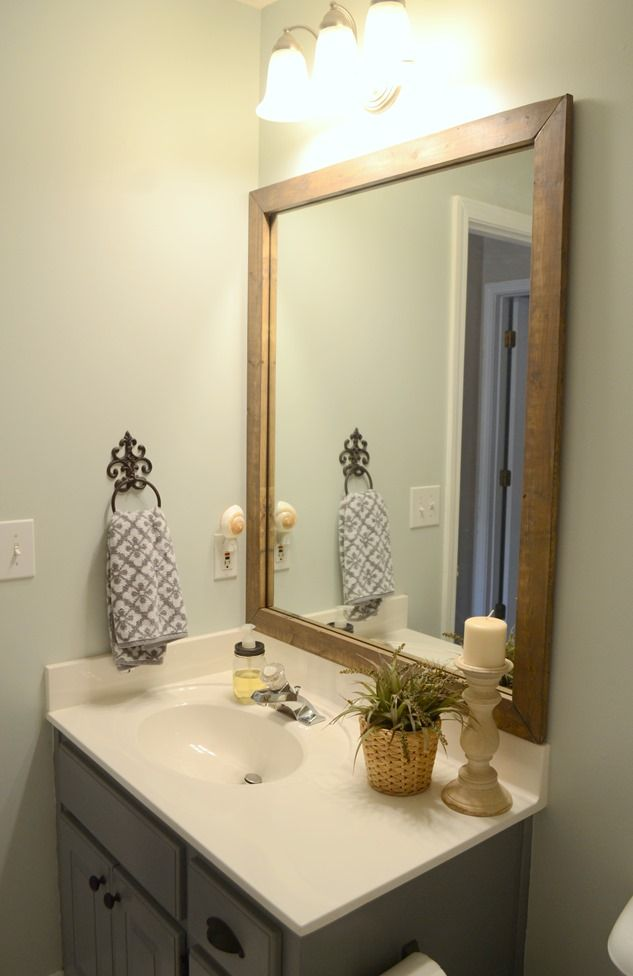 Stained Wood Framed Bathroom Mirror Wood Framed Bathroom Mirrors Diy Vanity Mirror Small Bathroom Mirrors