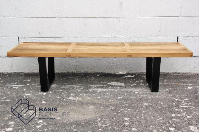 Fantastic Basic Slatted Wood Metal Bench Sven Diep River Beatyapartments Chair Design Images Beatyapartmentscom
