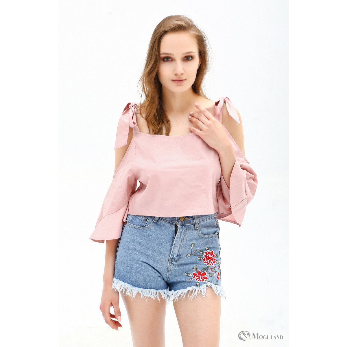 551fa52857607 Ladies pink cold shoulder tie flounce crop top wholesale - Women s  Wholesale Clothing Supplier