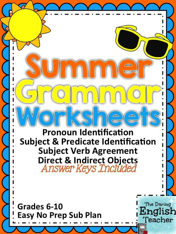Summer Themed Grammar Worksheets – Fun Grammar Worksheets