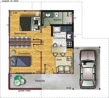 Plantas De Casas Com 4 Comodos Com Imagens Casas Pequenas E