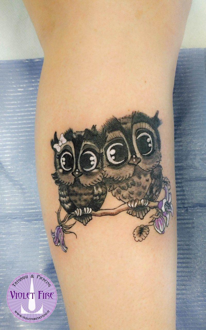 Tatuaggio Gufi Tatuaggio Gufetti Fumetto Tatuaggio Animali Tiny Owls Tattoo Cute Owls Tattoo Violet Fire Tattoo Trendy Tattoos Tattoos Tattoos For Daughters