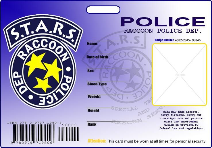 S T A R S Blank Id By Kasukitty On Deviantart In 2020 Resident Evil Movie Resident Evil Id Card Template
