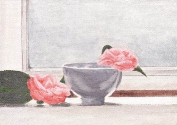 Bowl painting - Grey bowl - Flower painting - Pink flowers - Pink roses - Window painting - Still life painting - Fine art - Art gift