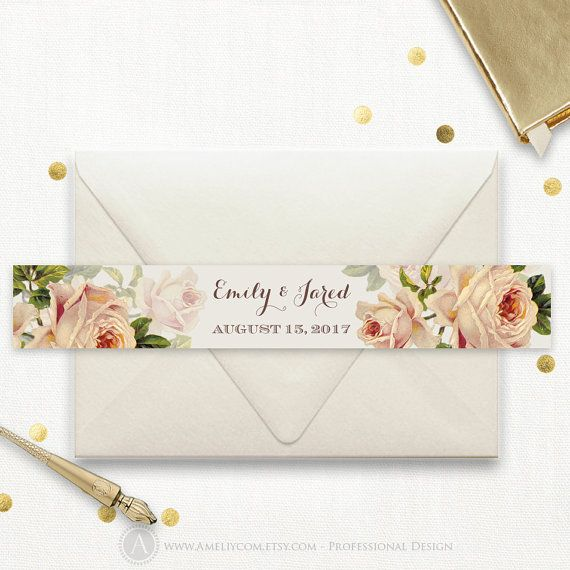 Instant Download Printable Wedding Belly Bands For Invitation Set