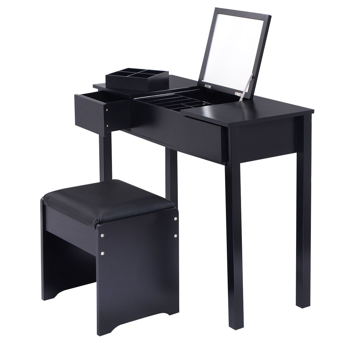 Vanity Dressing Table Set Mirrored Bedroom Furniture W/Stool