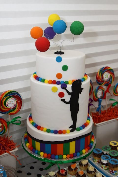 Cake With Juggling Balls On The Candy Table Party Ideas