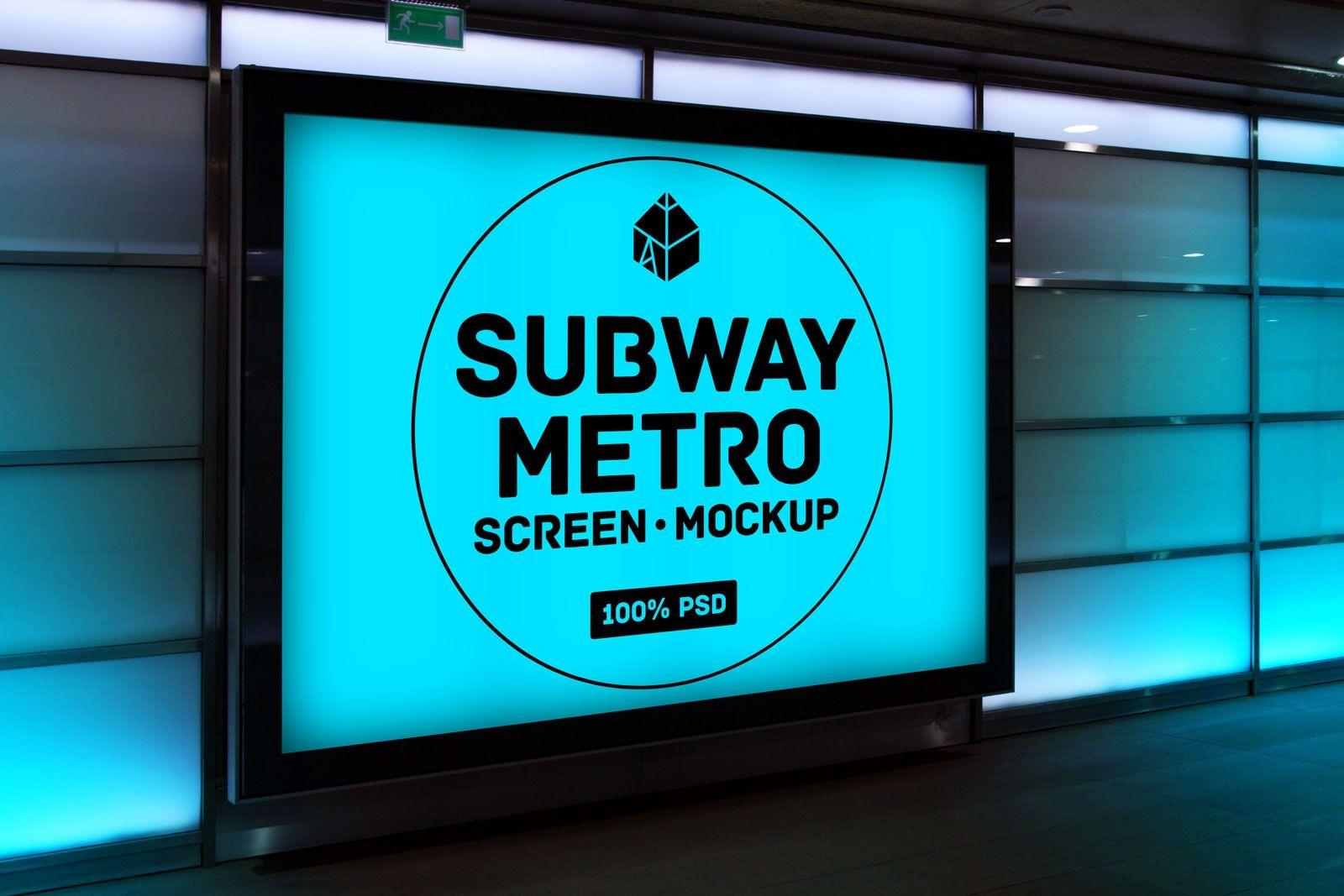 Free Subway Metro Screen Mockup Mockup Psd Design Mockup Free Free Packaging Mockup