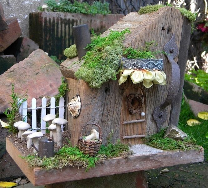 Fairy House Mushroom Garden built from an old door plank for