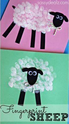 Fingerprint Sheep Craft! #Easter craft for kids