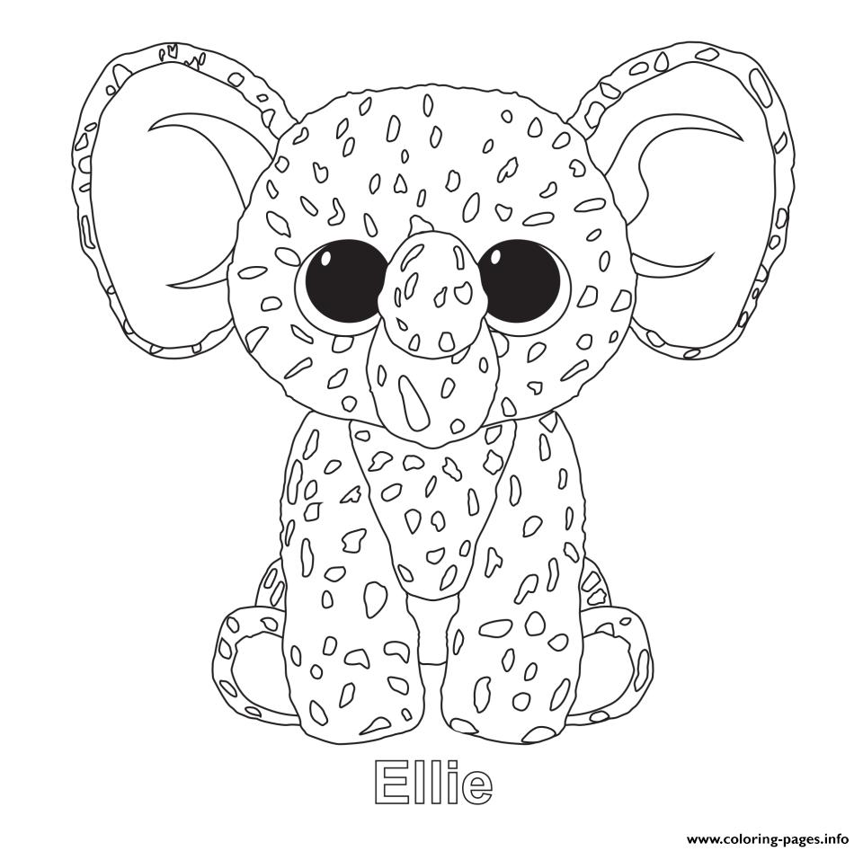 Print Ellie Beanie Boo Coloring Pages Beanie Boo Birthdays Coloring Pages Animal Coloring Pages
