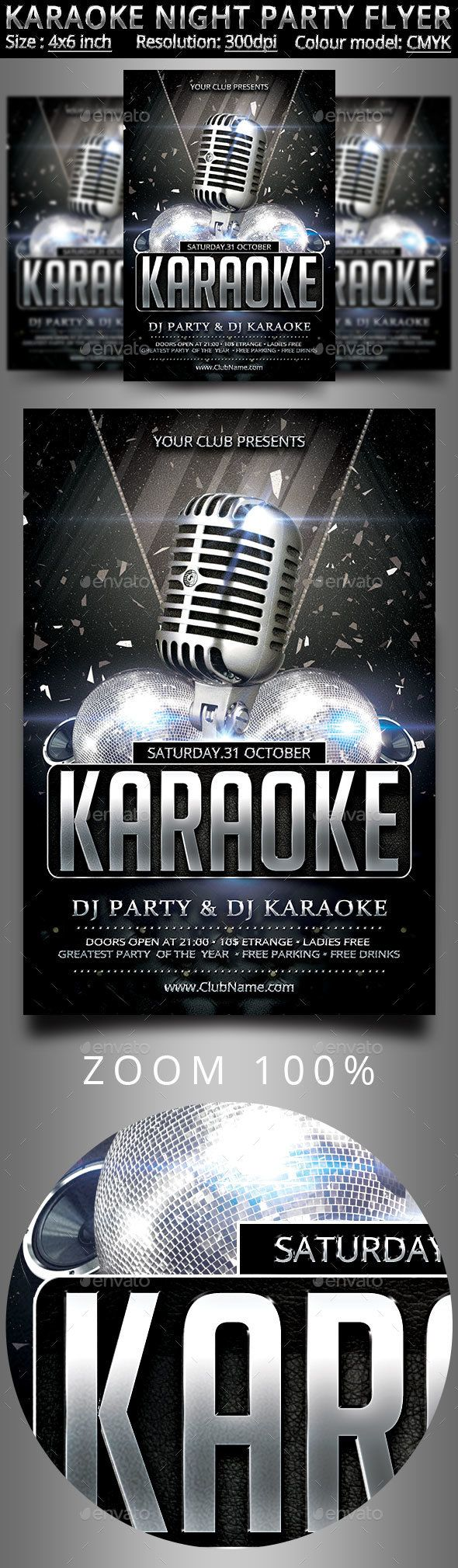 Karaoke Night Party Flyer  Party Flyer Flyer Template And Template