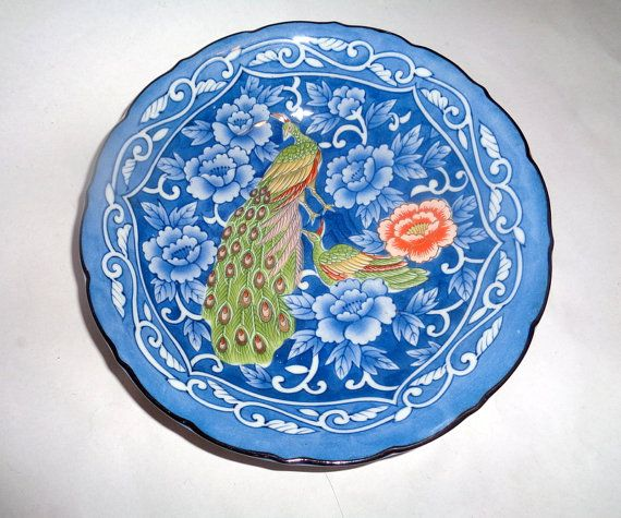 Japanese Plate Peacock Porcelain by LaBoutiqueDeValentin on Etsy & Japanese Plate Peacock Porcelain Decorative Plate Asian Soup Plate ...