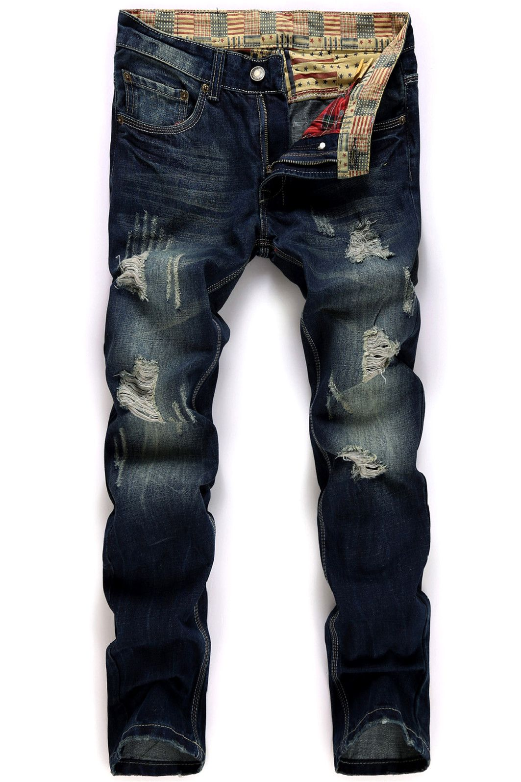 86ec4caf91d  24.88 Straight Leg Broken Hole Design Jeans