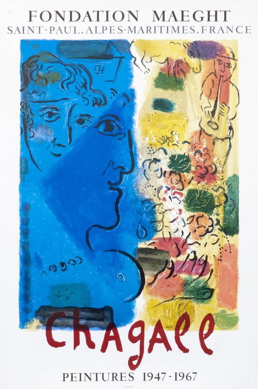 Chagall Peintures 1947 1967 Fondation Maeght Chagall Marc 1967 22 6 X 33 9 57 X 86 Cm Lithograph Paper Id Frc24204 550 Marc Chagall Exhibition Poster Chagall