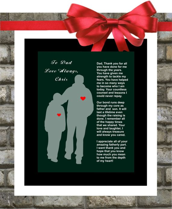 Father Of The Groom Wedding Thank You Gift From Son For Dad Parent Personalized Poem
