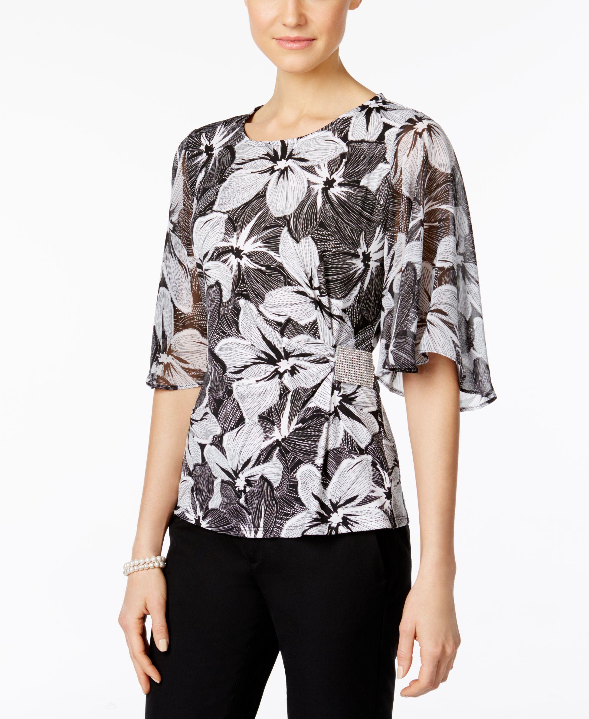 Msk Rhinestone Flutter Sleeve Evening Blouse Products Pinterest