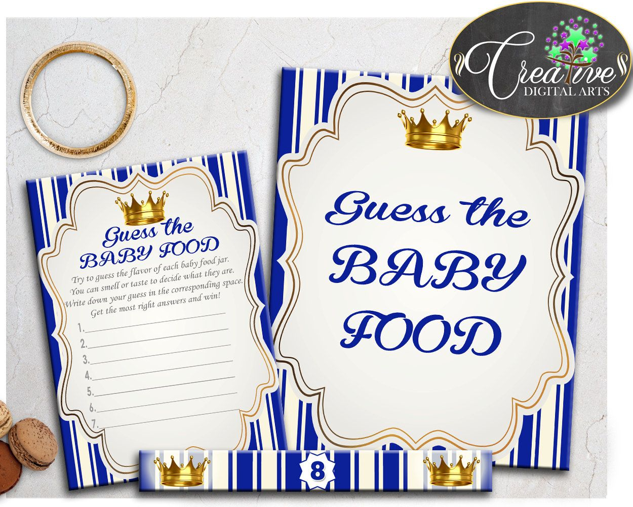 Blue Gold Royal Prince Guess The Baby Food Game Printable