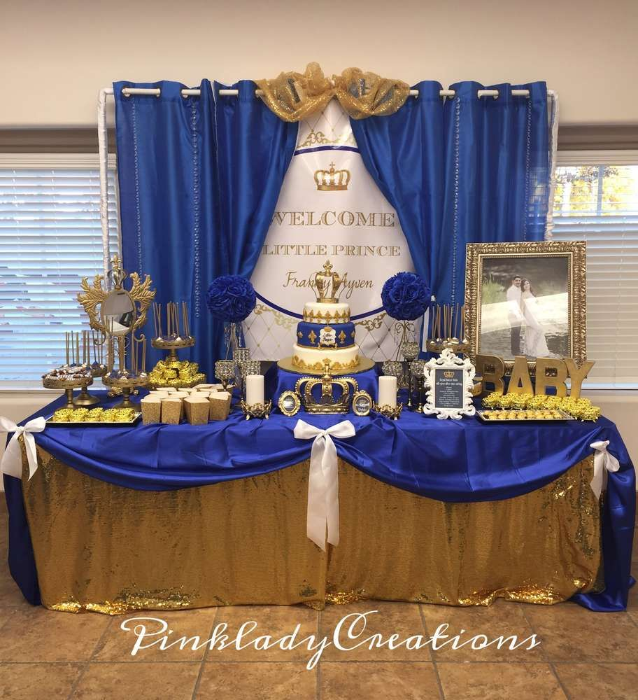Blue And Gold Baby Shower Decorations Royal Baby Shower Baby Shower Party Ideas The Ribbon