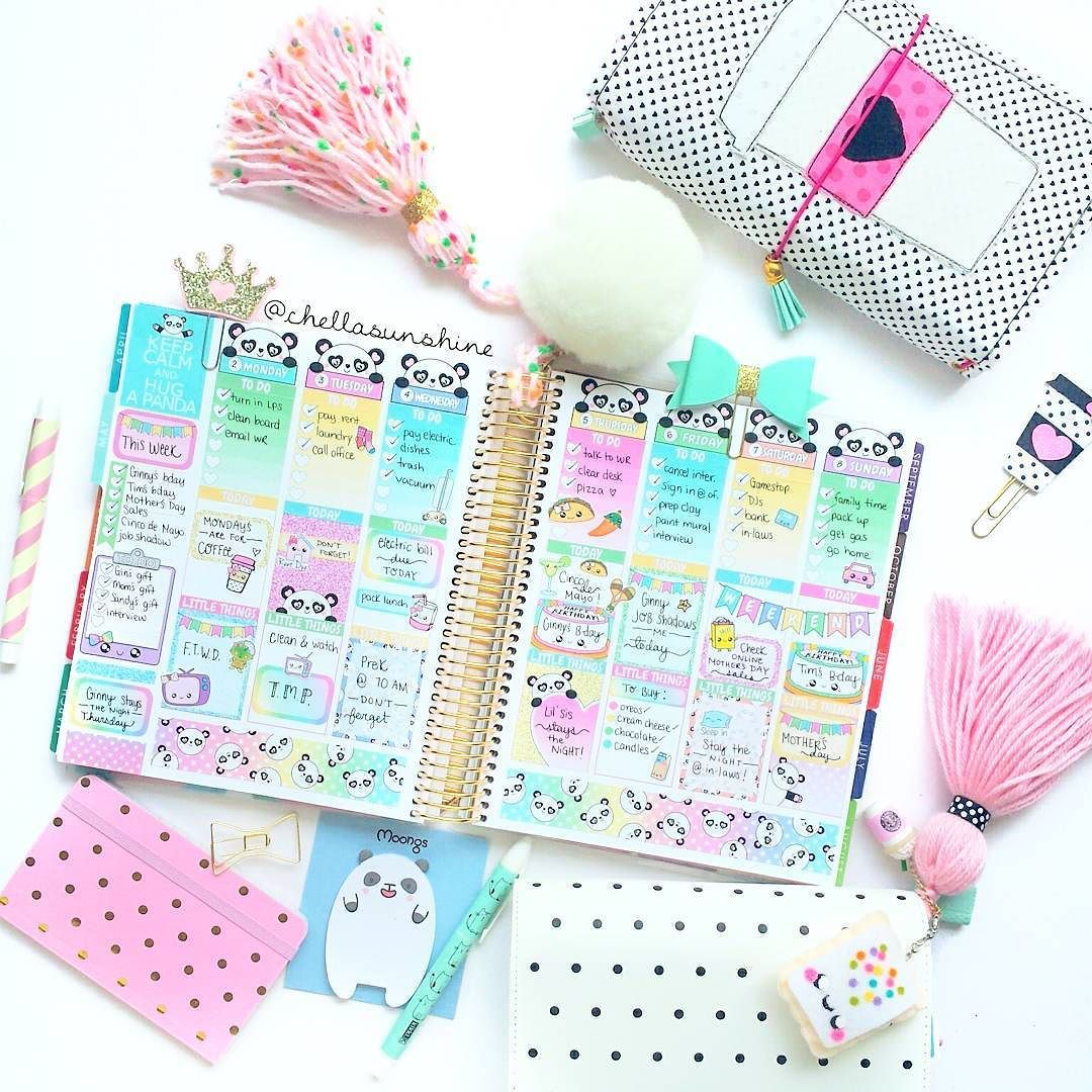 Finally getting around to posting my spread featuring our new panda sticker kit…