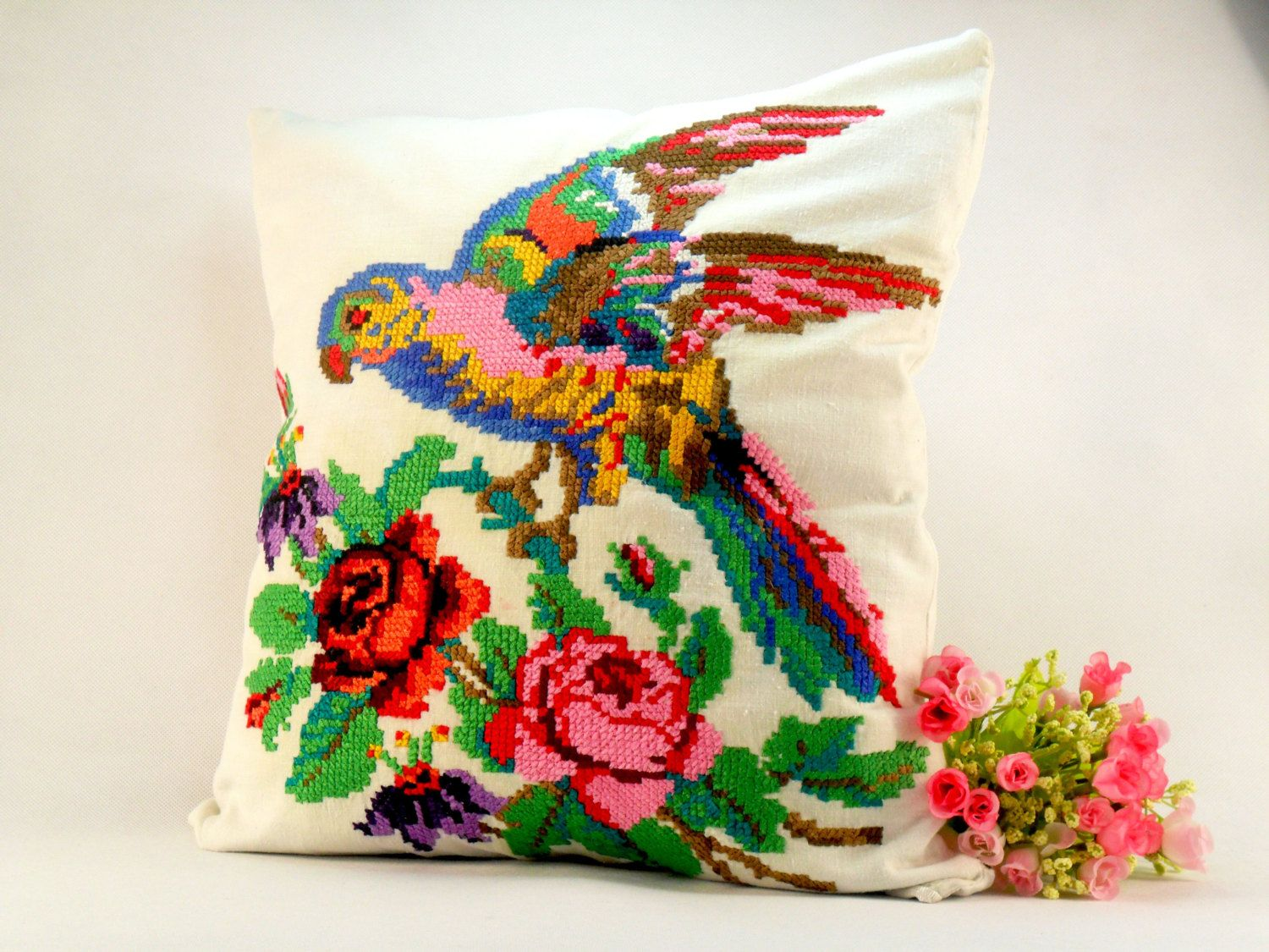 Pillowcase embroidery Organic floral pillowcase Shabby chic decorative pillows Multicolor decorative pillows vintage Embroidered cushion