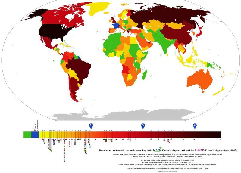 This Map Of Global Health Care Prices Shows Americans Are Getting Ripped Off Map Health Care Health
