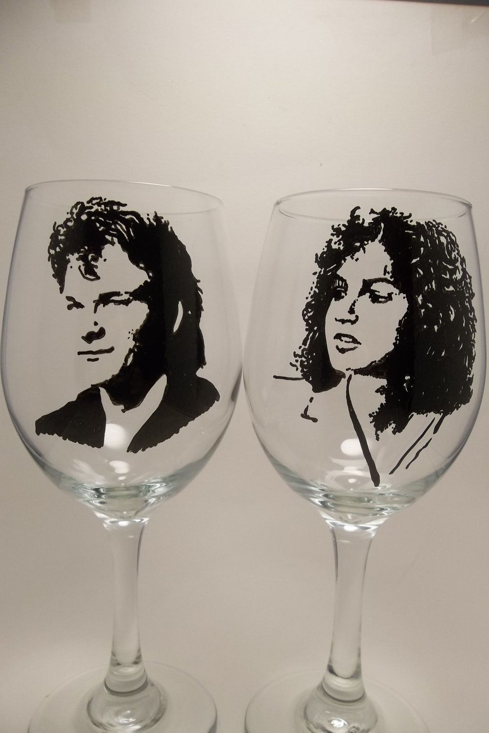 Dirty Dancing Wine Glasses, Patrick Swayze, hand painted wine glasses. $38.00, via etsy. Whaaaaaaaaa