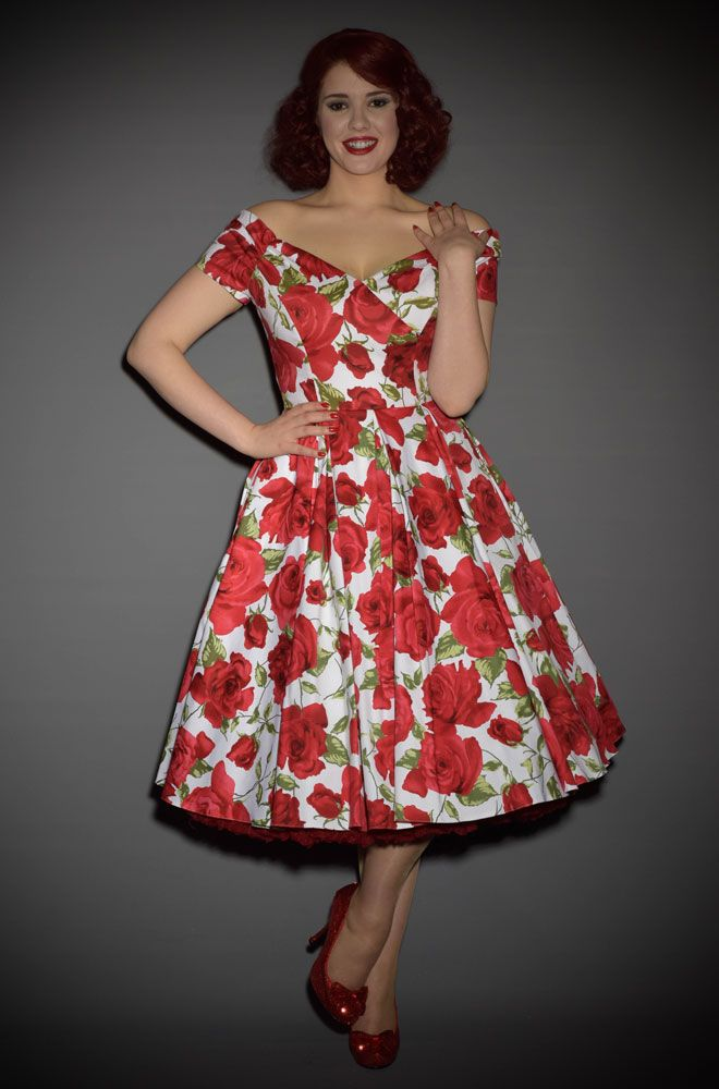 1950\'s style Prom Dress in Red & white Sorrento Rose at | Prom, Rose ...