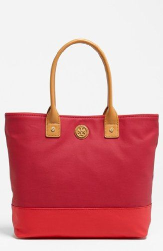 Tory Burch Dipped Canvas Small Jaden Tote Bag In Auburn Carmine Pink Handbag